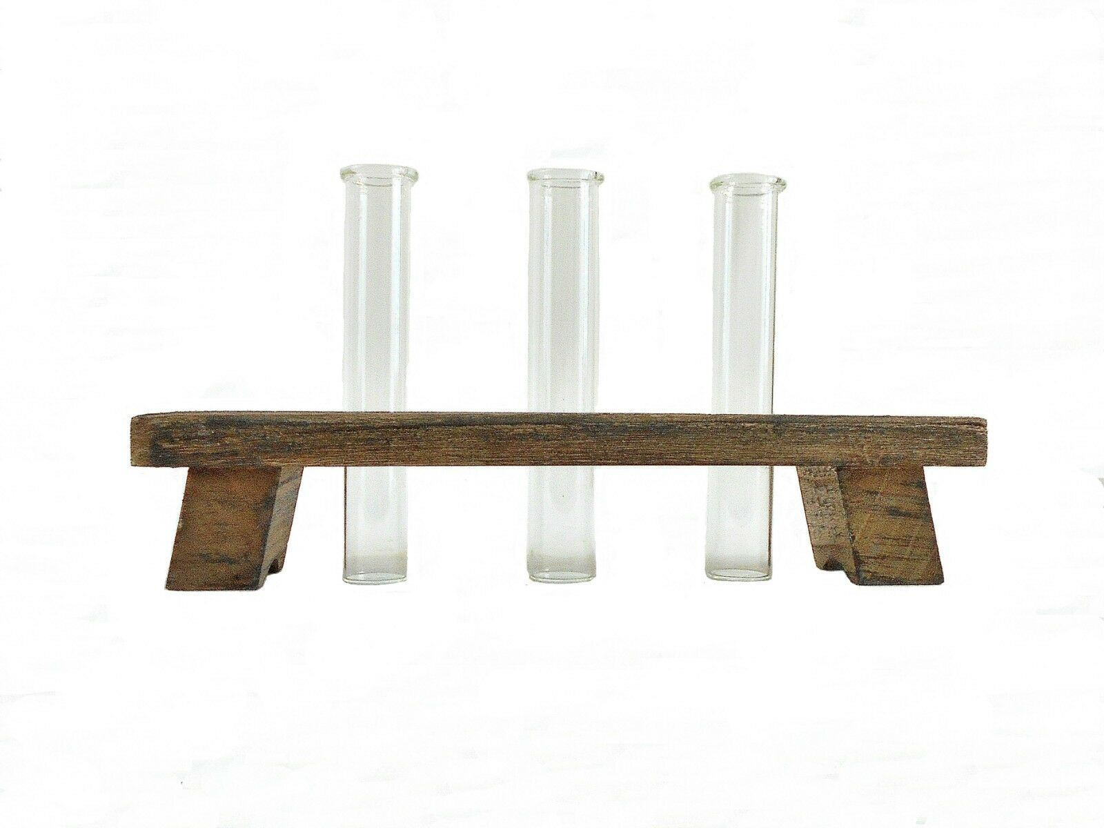 Primary image for Three Glass Tube Bud Vases w/ Rustic Wood Holder - Flower Vases