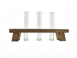 Three Glass Tube Bud Vases w/ Rustic Wood Holder - Flower Vases - $18.50