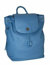 TORY BURCH Brody Leather Drawstring Backpack Montego Blue - $282.15