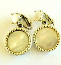 Vintage Mother of Pearl Silver Tone Dangling Clip On Earrings - $3.00