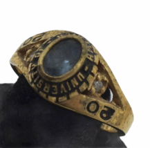 Vtg Class Ring 6 Lot Yellow Gold Tone Metal Semi Precious Red Blue Green 42.1gr image 5