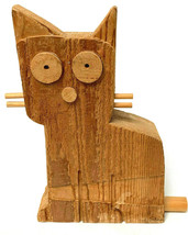 Wooden Cat Primitive Hand Carved Signed David Sloan - $26.73