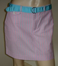 RALPH LAUREN Pink/Aqua Blue Pinstripe Straight Cotton Skirt w/ Ribbon Be... - $19.50