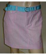 RALPH LAUREN Pink/Aqua Blue Pinstripe Straight Cotton Skirt w/ Ribbon Be... - $19.50