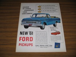 1960 Print Ad New 1961 Ford Pickup Trucks Blue Leader in Looks - $15.23