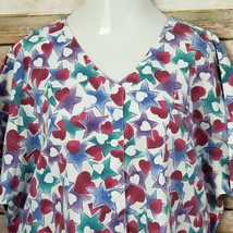 Barco Medical Scrub Top Size 3XL Button Up Hearts Stars Front Pockets - $18.80