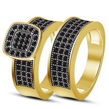 Bridal Engagement Ring Set 14k Yellow Gold Plated 925 Silver Round Cut Black CZ - $85.71