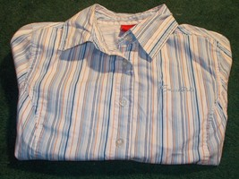 South Pole Blouse Multi-Color Striped LS Work Shirt Sz M Medium Button d... - $7.77