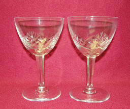 """Two (2) VAL ST. LAMBERT Cut Crystal - OUCHY Pattern - 5 1/4"""" RED WINE GO... - $29.95"""