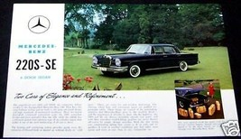 1965 MERCEDES 220 S SE  OWNERS SALES BROCHURE W 111 PARTS SERVICE 220 - $29.99