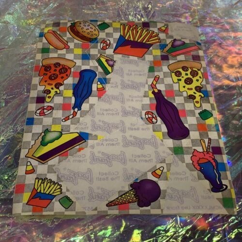 Vintage Lisa Frank S121 Very Incomplete Junk Food Pizza Ice Cream Stickers As Is