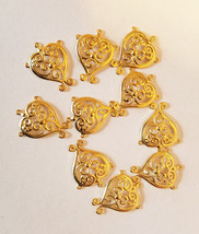 filigree heart charms gold plated filigrees pendants 12mm x 15mm filigre... - $2.00