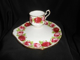 Royal Albert Old English Rose Snack Plate & Cup Tennis Plate Fine China - $23.75