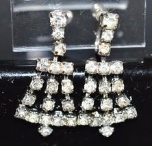 VTG Silver Tone 1940's Art Deco Clear Rhinestone Dangle Screwback Earrings (B) - $19.80