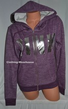 Victoria's Secret VS PINK Cozy Fleece Lined Full Zip Hoodie Purple Silve... - $64.99
