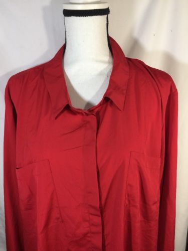 Primary image for Lane Bryant Red Button Up Shirt Men Cotton Casual Style Cuff Ends  Size 26/28 +