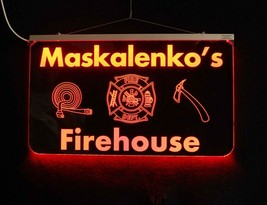 Fireman Personalized LED Man Cave Sign- Garage Sign, Bar sign, Firehouse sign - $96.03+