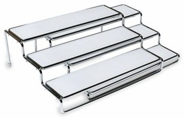 Chrome 3 Tier Expandable Cabinet Spice Rack Step Shelf Organizer Decor D... - $42.05