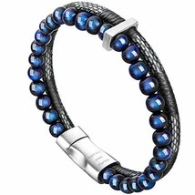 murtoo Mens Bead Leather Bracelet, Blue and Brown Bead and Leather Brace... - $24.54