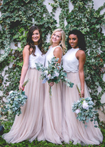 Taupe Cappuccino High Waist Long Tulle Skirt 2019 Tulle Bridesmaid Outfit Plus