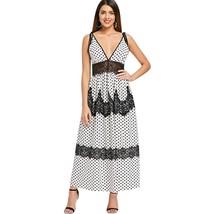 Plunging Neckline Polka Dot Lace Insert Maxi Dress(WHITE L) - $25.75
