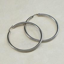 """2"""", Vintage Sterling Silver Handmade Earrings, Fine 925 Silver Huge Hoops - $29.80"""