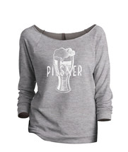 Thread Tank Pilsner Glass Sketch Women's Slouchy 3/4 Sleeves Raglan Sweatshirt S - $24.99+