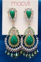 Macy's Gold Tone Faux Diamond & Stone Dangle Earrings - $5.99