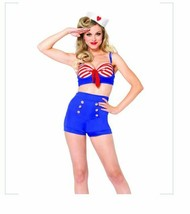3pc On Deck Darling Sailor Navy Halloween Costume Pin Up Girl Shorts Top... - $26.99