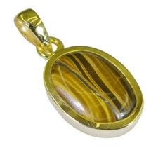 cute Tiger Eye Gold Plated Brown Pendant Fashion simply US - $5.93