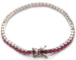Bracelet Tennis Argent 925, Zirconia Cubique Rouges 3 mm, Longueur 18 CM image 2