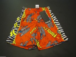 Hurley boy's youth 6 shorts active zebra torch orange surf skate NEW 141... - $13.36