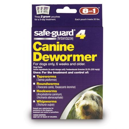 8 in 1 pet products safe guard 4 canine dewormer