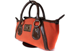 Auth Burberry London Blue Label Cotton Orange Patent Leather Hand Bag - $239.00