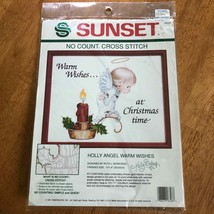 Sunset Holly Angel Warm Wishes Cross Stitch No Count 10x8 inch Christmas... - $11.88