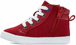 Cat & Jack Toddler Boys' Red Hardy Mid Top Canvas Sneakers Side Zipper Stars NEW image 2