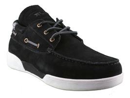LRG Mangrove Black Leather Suede Boat Shoes Size 9 42 EUR NIB