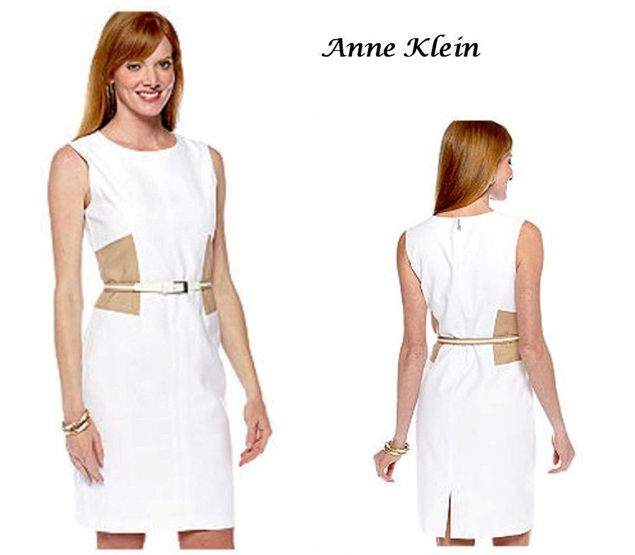 Anne Klein Classic Slimming White Dress Linen Look Career Dinner Cruise NWT 10