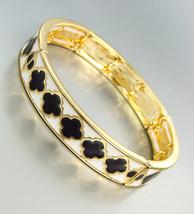 CLASSIC Designer Black White Lacquer Enamel Clover Clovers Gold Stretch Bracelet - $16.99