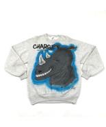 VINTAGE Jerzees Crewneck Sweatshirt Size L Adult Gray Heather Airbrushed Rhino - $45.38
