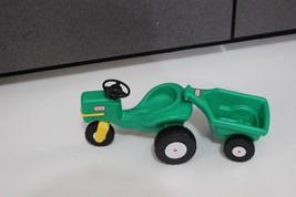 vtg HTF Little tikes DOLL HOUSE SIZED Green John Deere type Tractor Trailer lot - $29.95