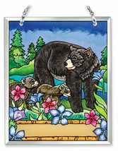 """Bears Cubs Sun Catcher AMIA Wild Animals Hand Painted Glass 6""""x5"""" Trees ... - €22,53 EUR"""