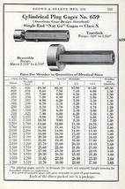 Brown & Sharpe 1941 Tool Catalog AD Cylindrical Plug Gages No. 659 - $14.99