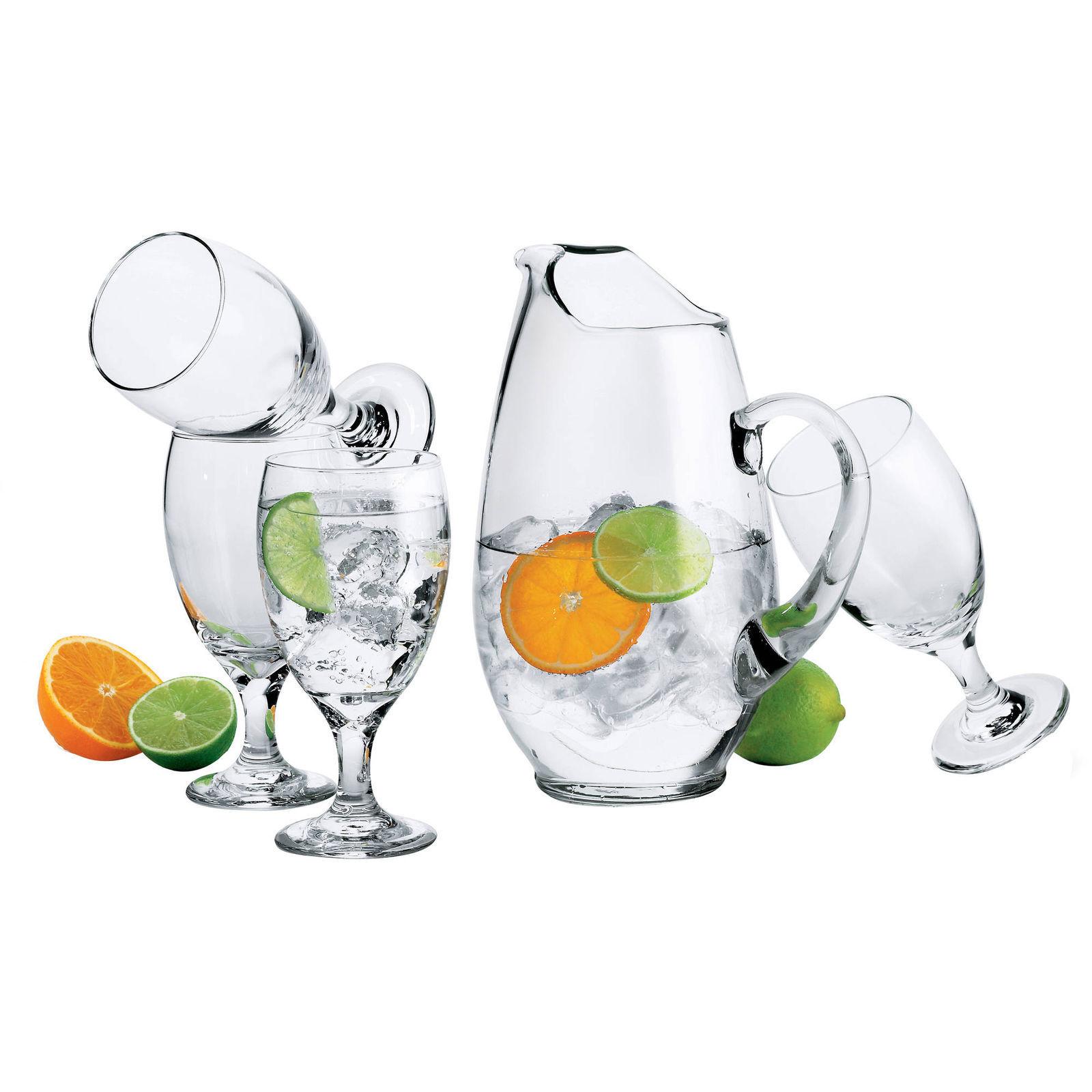 Set of 7 Libbey Carolina Clear Glass Pitcher and Glass Set New