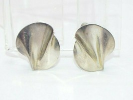 Sterling Silver Modernist Wave Ripple Vintage Clip Earrings 6 grams - $29.69