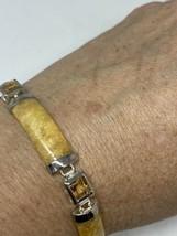 Vintage HoneyJade Garnet Bracelet 925 Sterling Silver Deco - $130.68