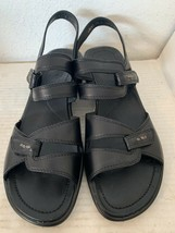 ECCO Women's Size 39 Black Sandals w ECCO Light Soles Strappy with Velcro - $55.75