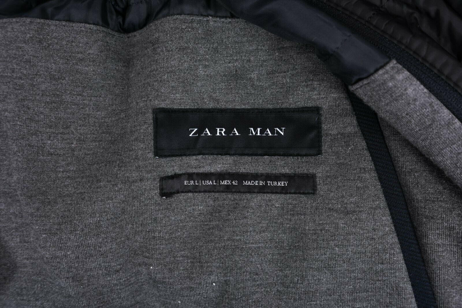 Zara Man Mens Jacket Coat Blazer Removeable Interior Navy Blue Gray Hooded NWT
