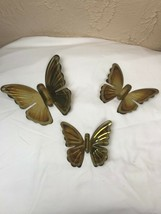 HOME INTERIORS Gold METAL Set of 3 BUTTERFLY Wall PLAQUES butterflies  - $9.46