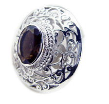grand Smoky Quartz 925 Sterling Silver Brown Ring Natural jewelry US - $69.29